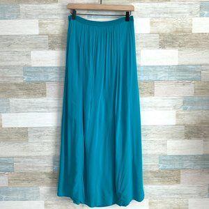 LOFT Boho Shirred Maxi Skirt Blue High Waist
